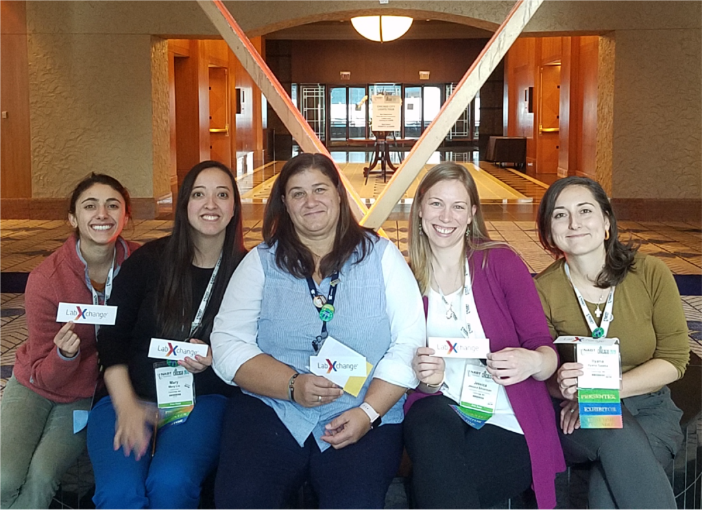 The LabXchange team poses for a group photo at NABT 2019 with educators Debora O'Reilly and Mary Liu..